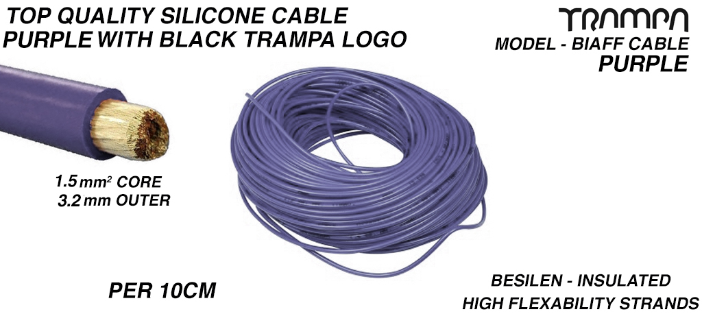 1.5mm PURPLE Silicon Cable with BLACK TRAMPA logo Core Top Quality BIAFF electrical Cable price per 10cm
