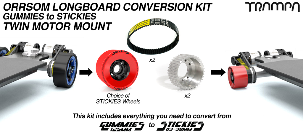 Gummies to Stickies Orrsom Conversion kit with STICKIES wheels for TWIN Motor