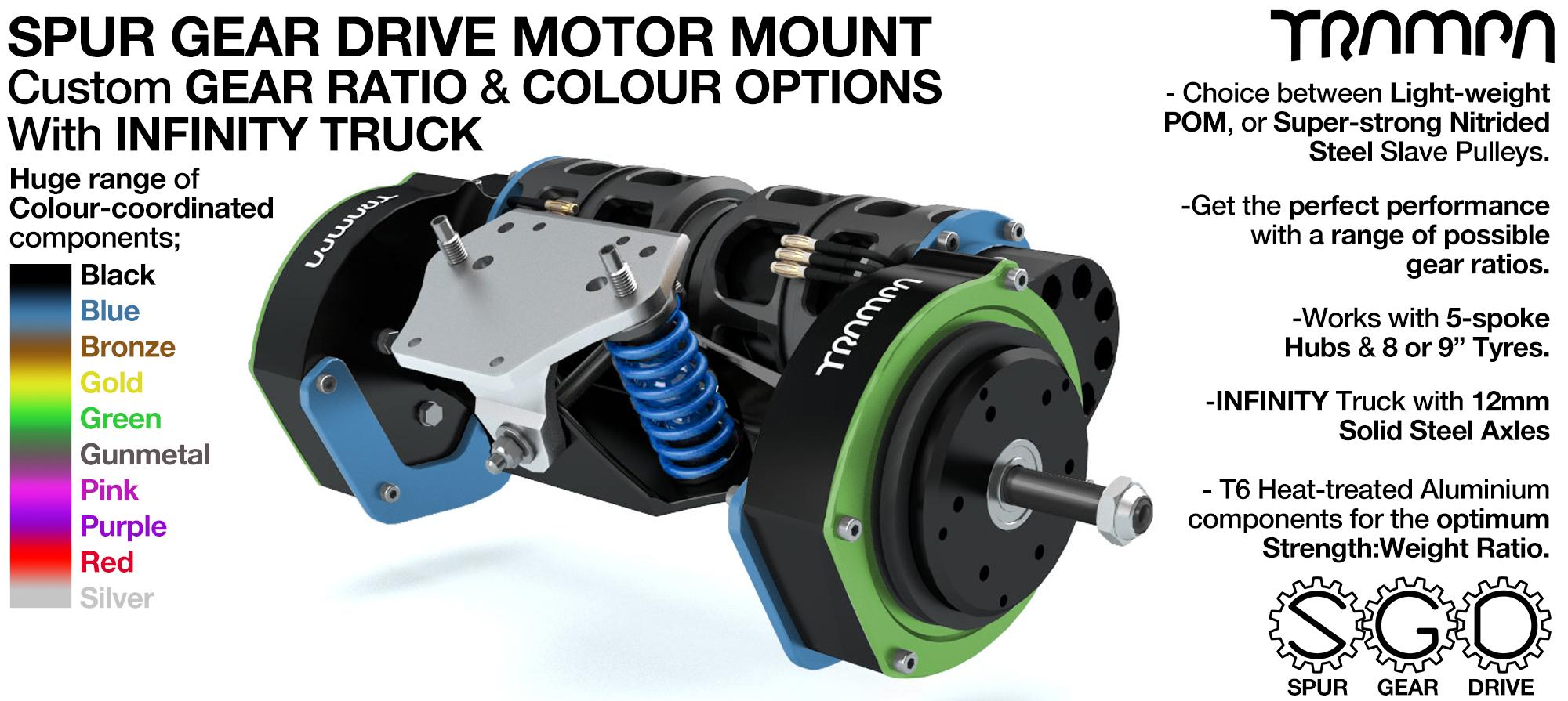 Mountainboard Spur Gear Drive TWIN Motor Mount with Motors & INFINITY Truck