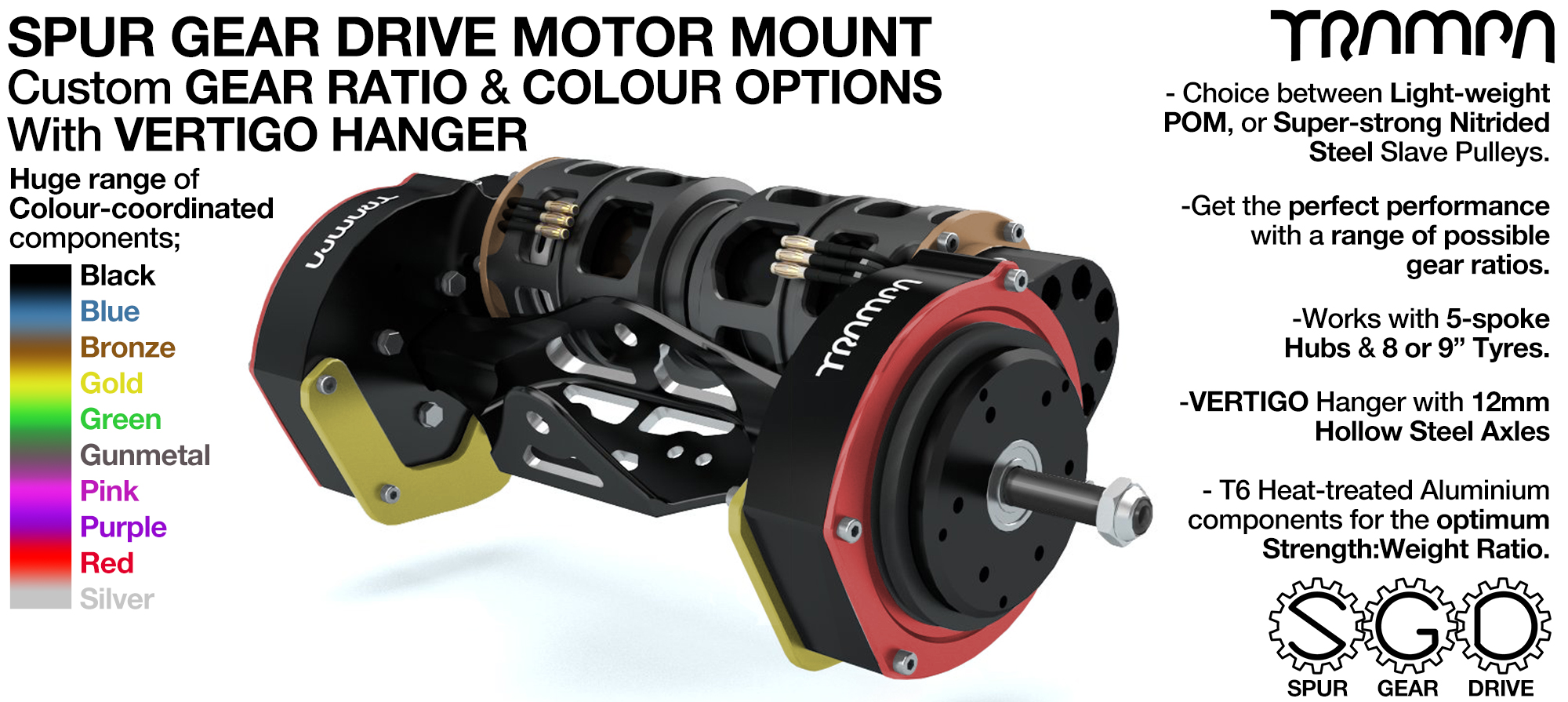 Mountainboard Spur Gear Drive TWIN Motor Mounts with Motors & VERTIGO Hanger