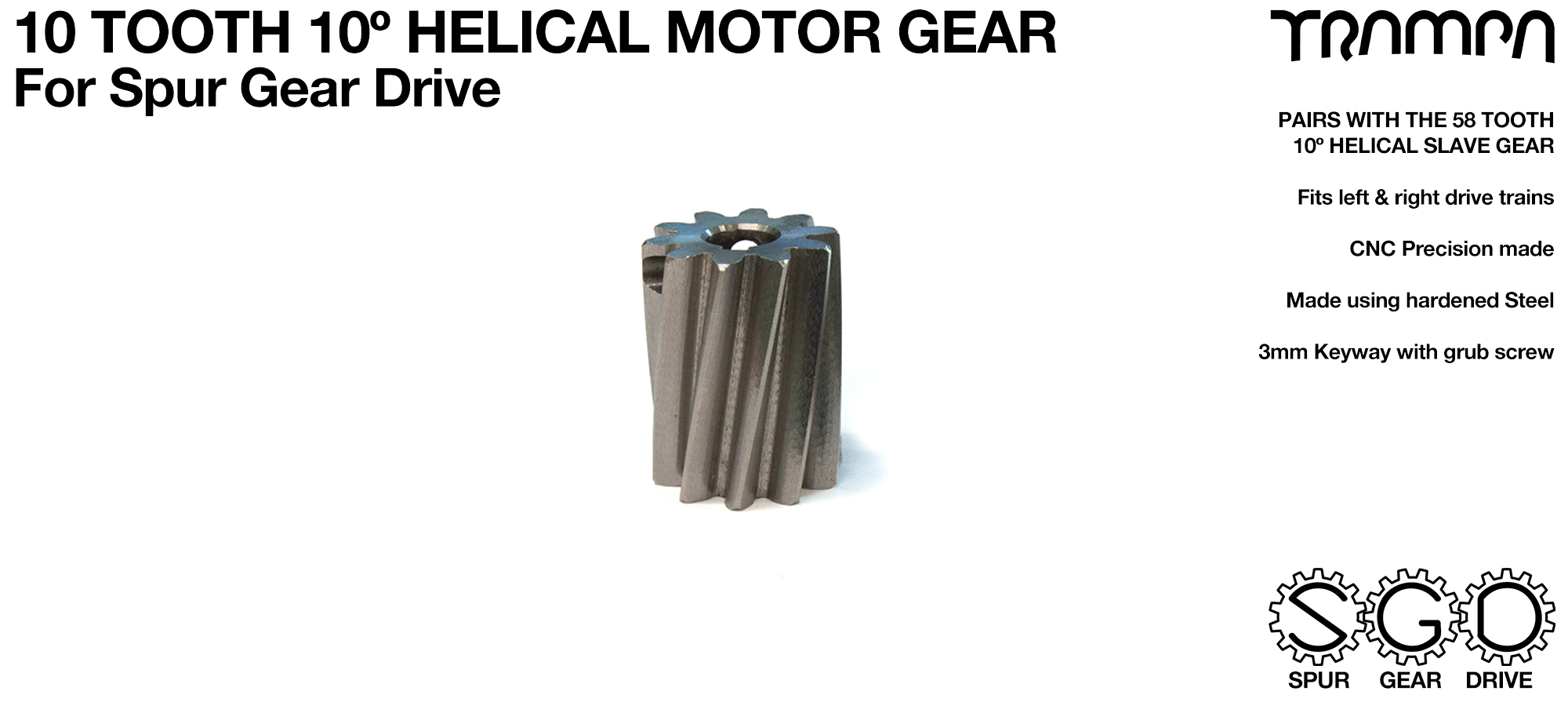 Spur Gear Drive 10 Tooth HELICAL Motor Pulley