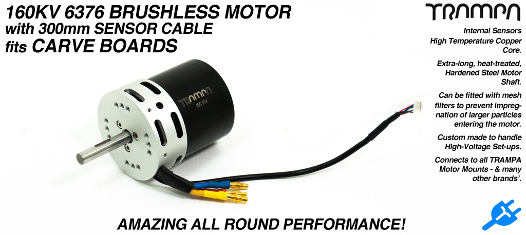 TRAMPA's own 160Kv 6364 2400w DC Brushless High Torque & High Speed Motor with 300mm Sensor cables Suitable for Single or TWIN Motor Drives!
