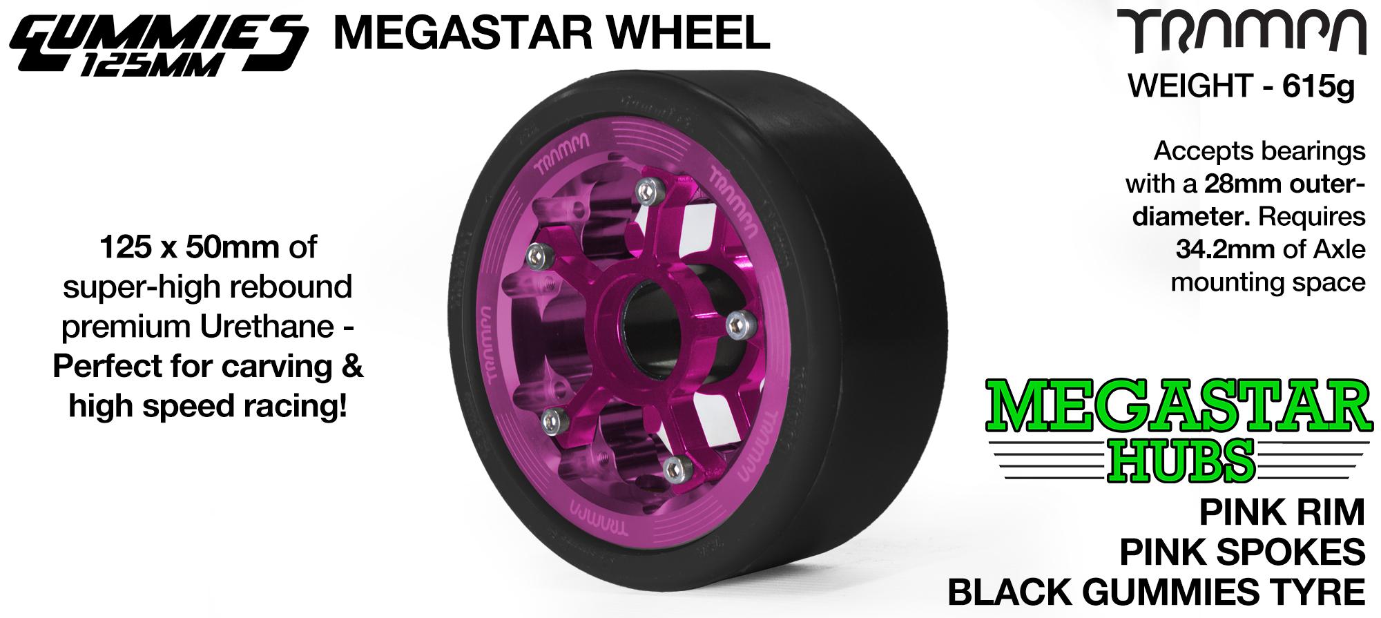 PINK MEGASTAR Rim with PINK Spokes & BLACK Gummies  - The Ultimate Longboard Wheel
