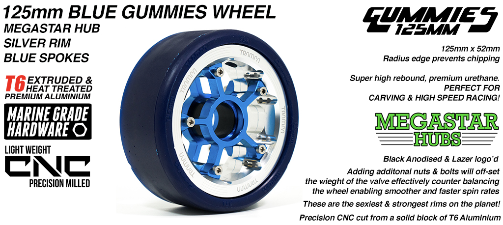 POLISHED MEGASTAR Rim with BLUE Spokes & BLUE Gummies - The Ulrimate Longboard Wheel