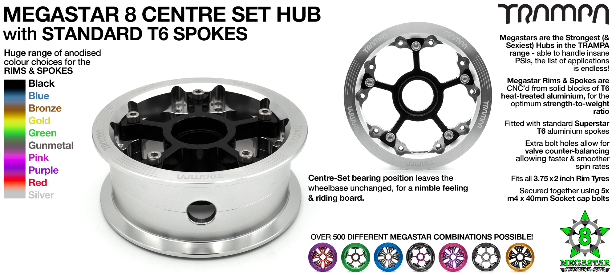 Custom 8 Inch CENTRE-SET MEGASTAR HUB! Build the MEGASTAR Hub of your dreams!! Any combination possible...