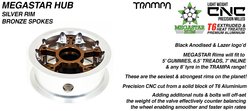 MEGASTAR Hub - Polished Rim with Bronze Spokes