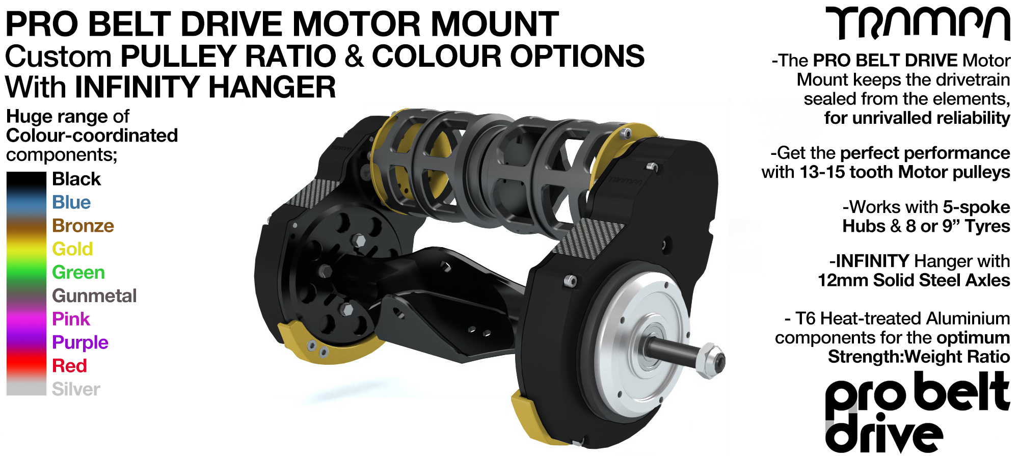 Mountainboard PRO Belt Drive TWIN Motor Mounts & Precision INFINITY Hanger
