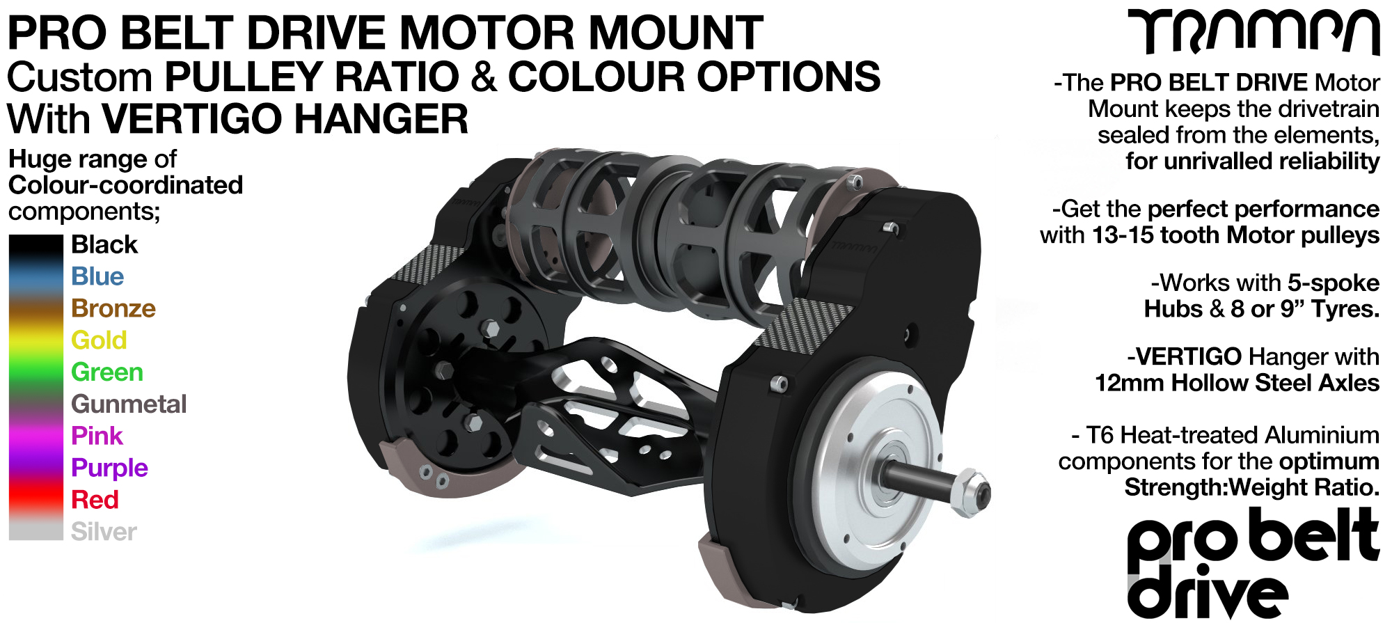 Mountainboard PRO Belt Drive TWIN Motor Mounts, Motors & Precision VERTIGO Hanger