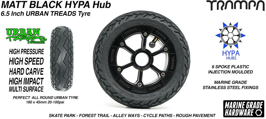 Matt Black HYPA Hub with Low Profile 6.5 Inch URBAN Treads Tyres