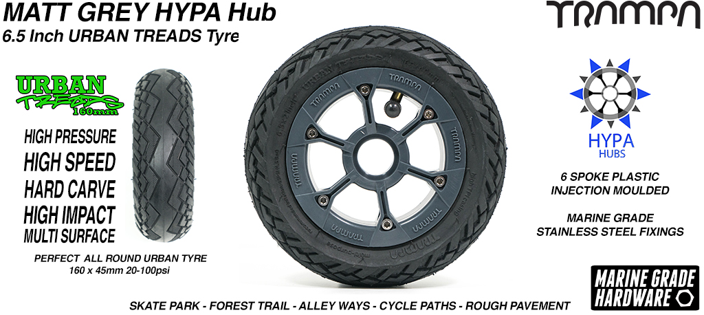 Matt Grey HYPA Hub with Low Profile 6.5 Inch URBAN Treads Tyres