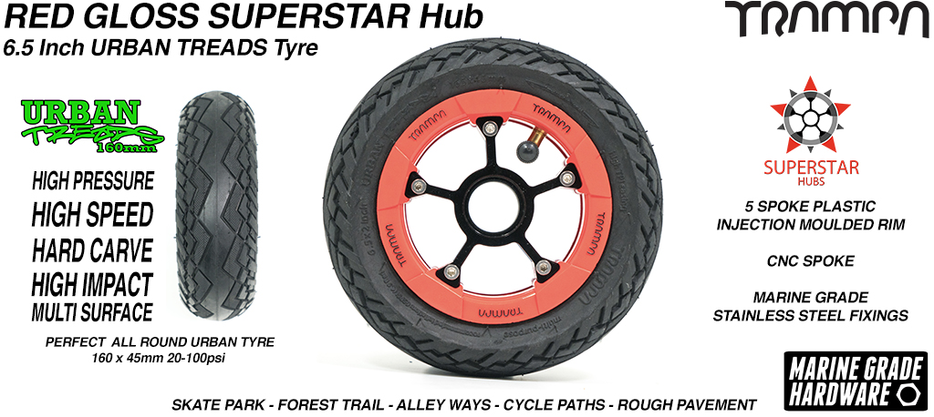 Superstar 6.5 inch wheel - Red Gloss Black Logo SUPERSTAR Rim with Low Profile 6.5 Inch URBAN Treads Tyres