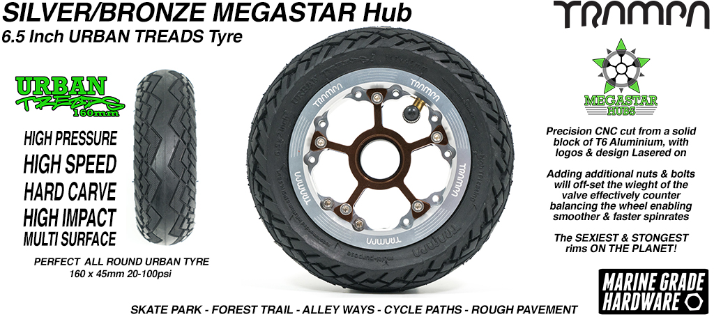 SILVER MEGASTAR Rims with BRONZE Spokes & the amazing Low Profile 6.5 Inch URBAN Treads Tyres
