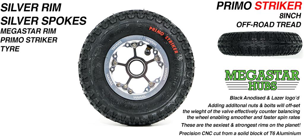 SILVER MEGASTAR Rims with SILVER Spokes 8 Inch BLACK STRIKER Tyres