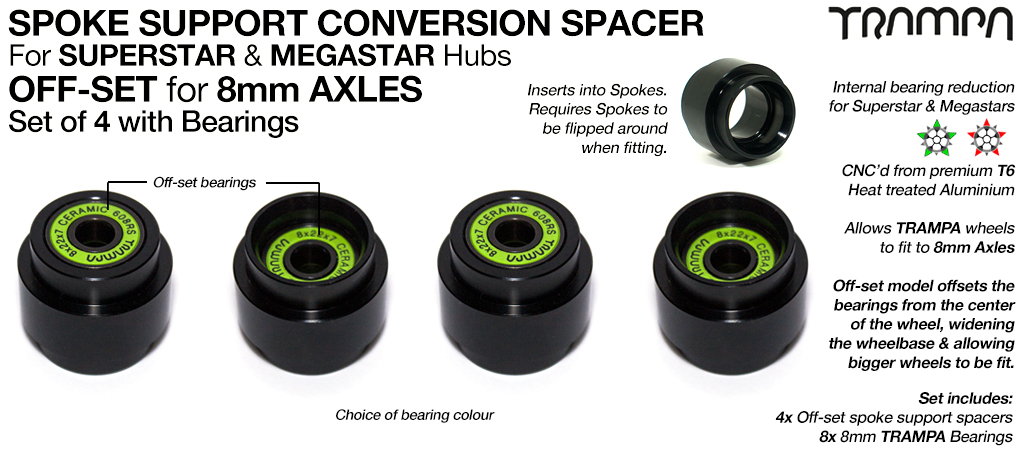 OFF Set Spoke Support Bearing Conversion Spacers with Bearings Kit - Fits SUPERSTAR & MEGASTAR Wheels to 8mm Axles such as Evolve, Enertion, Boosted & Pretty much an 8mm Longboard truck on the planet!!