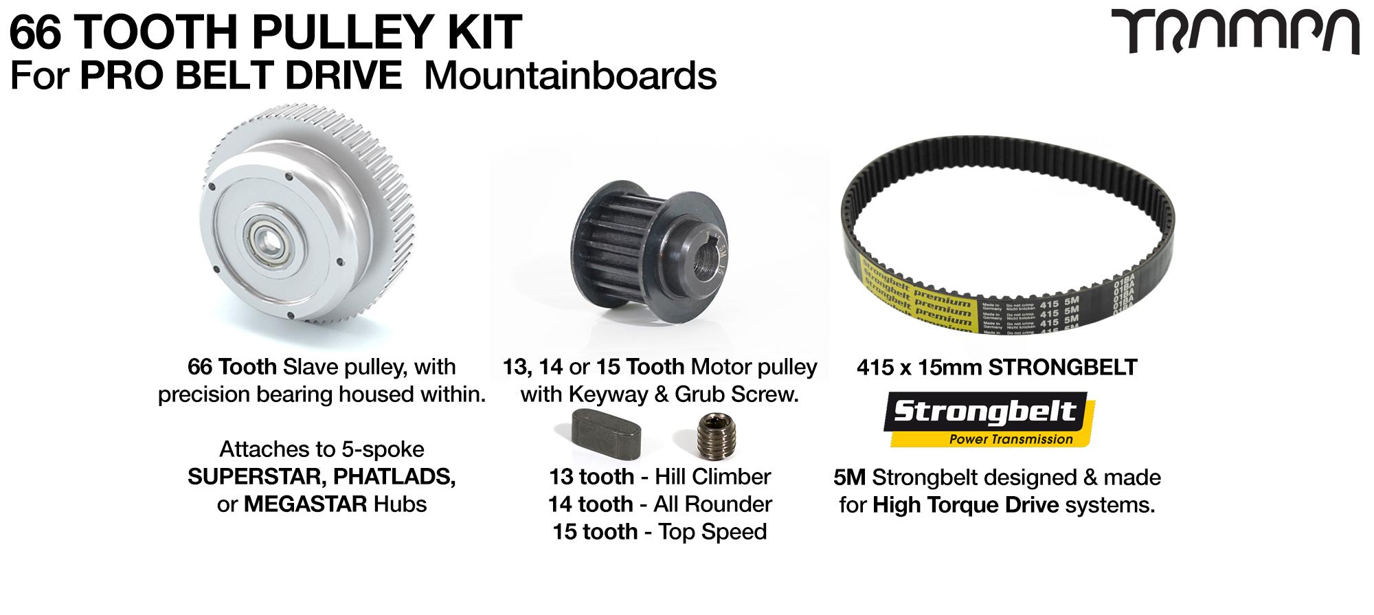 PRO BELT DRIVE MTB Pulley Kit with 66 Tooth Slave & 460mm belt for 8 inch SUPERSTAR or 9 Inch  MEGASTAR wheels