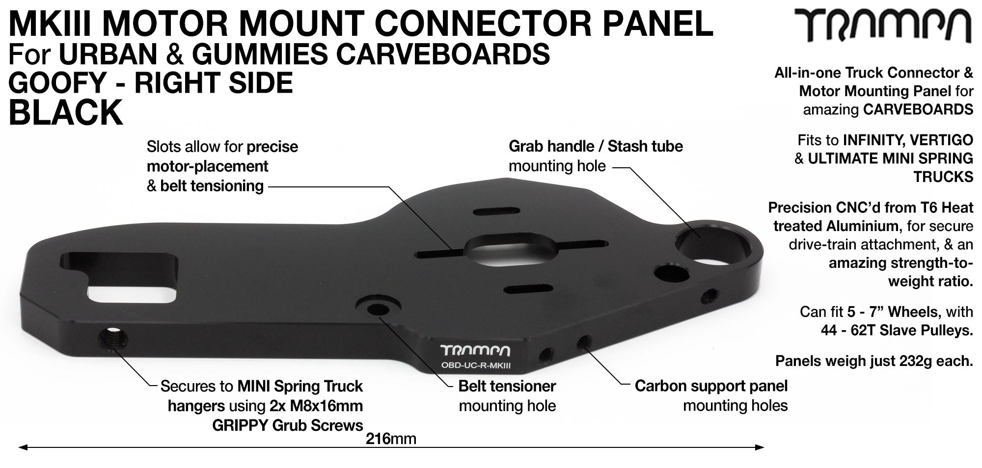 MkIII CARVE Truck Motor Mount T6 Aluminium Anodised - GOOFY BLACK