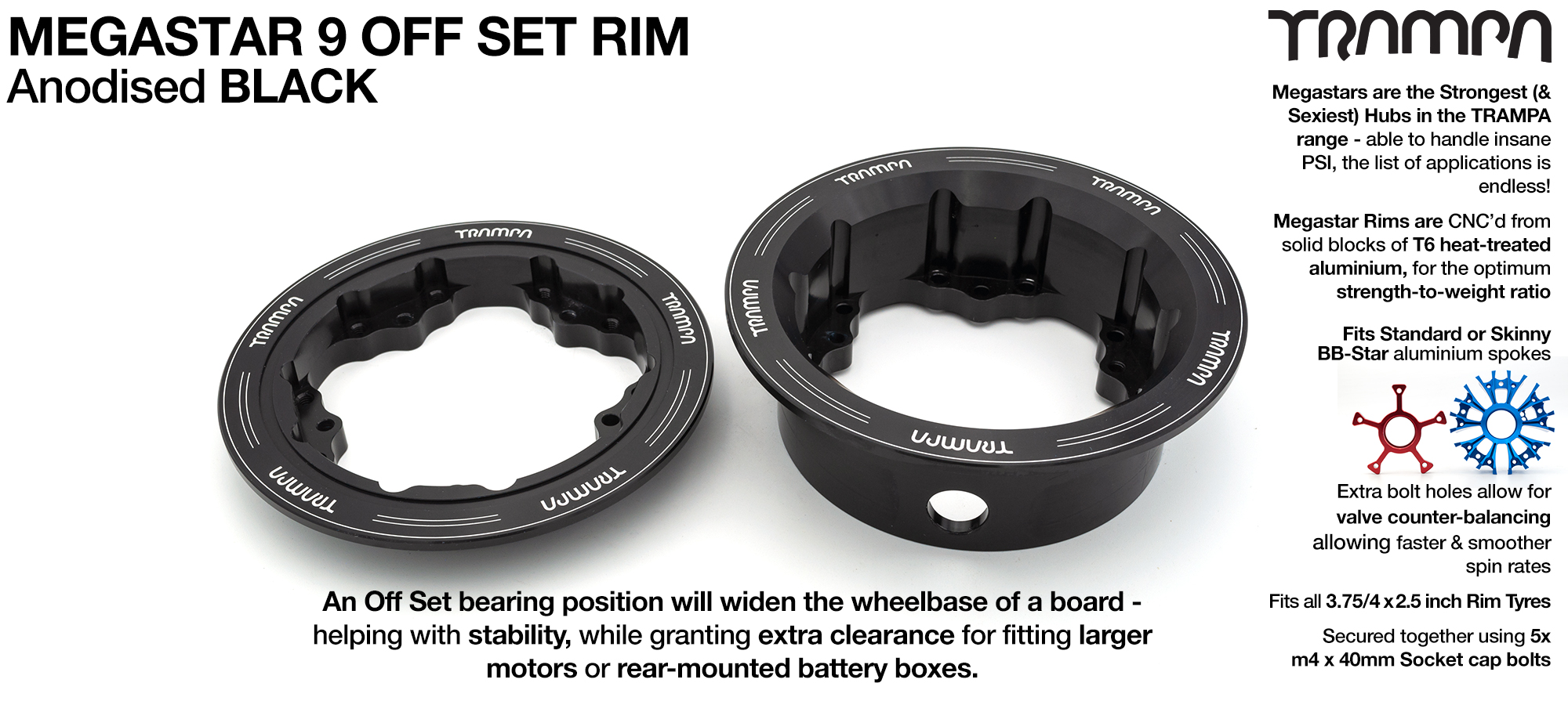 9 Inch DEEP DISH Off-Set MEGASTAR Rims BLACK - Place two on the rear of your Electric Mountainboard for extra Grip & Top Speed!