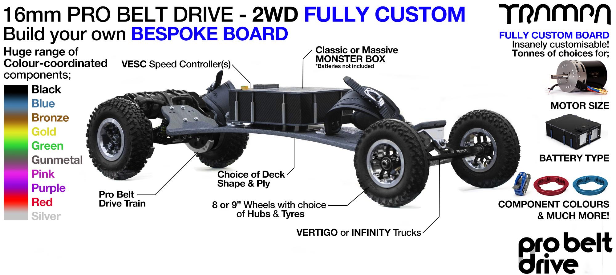 Electric Mountainboard PRO BELT DRIVE - 2WD CUSTOM