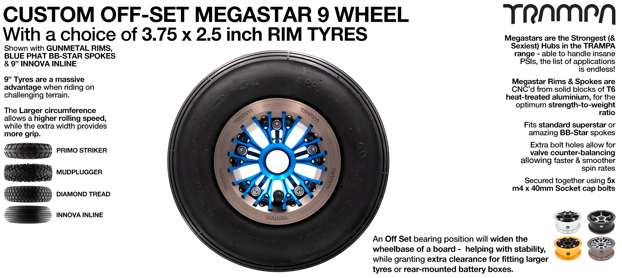 Custom 9 inch MEGASTARS Wheel with OFFSET Bearing position & any 9 Inch Tyre