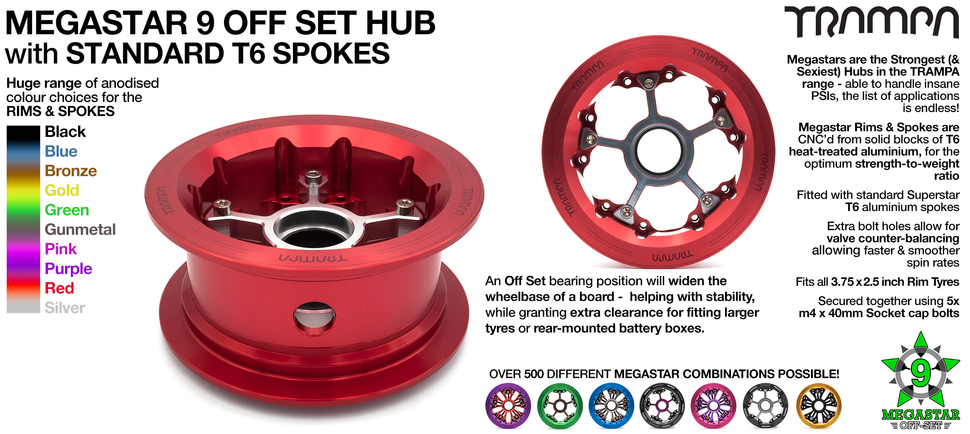CUSTOM 9 Inch MEGASTAR HUB! Build the SUPERSTAR Hub of your dreams!! Any combination possible...