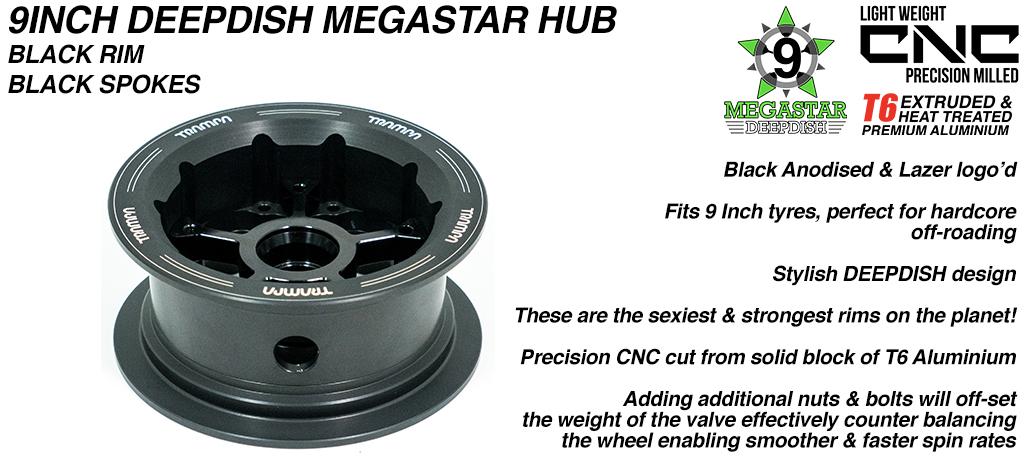 9 Inch DEEP DISH MEGASTAR Hub - BLACK Rim with BLACK Spokes