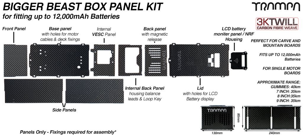 BIGGER BEAST Box Carbon Fibre Panels with LED & NRF Housing to fit upto 12000 mAh cell packs - 2020