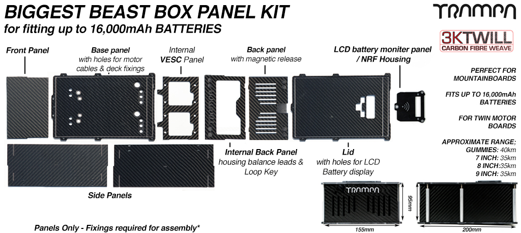 BIGGEST BEAST Box Panels with LED Screen & NRF Housing to fit 2x VESC6 MkV or 1x HD-60Twin with a 12s 16000 mAh cell packs!!
