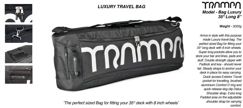 2019 Luxury Mountainboard Travel Bag - Fits 35º long decks with upto 9 inch wheels inc Motor Mounts & Monster Box perfectly! Also fits your charger, pads, helmet & beer!