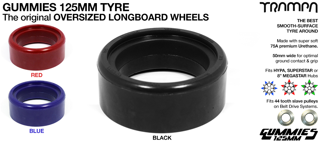 Gummies 5 Inch Tyre - The Worlds largest Longboard wheel fixes to Any of the TRAMPA HYPA, SUPERSTAR & 8 Inch MEGASTAR Hubs