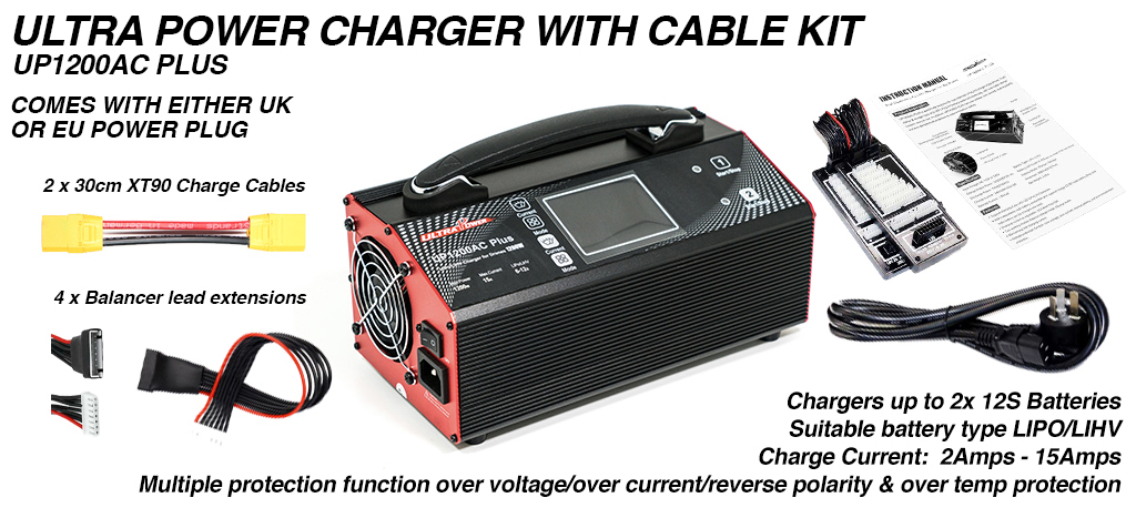 ULTRA POWER Charger with XT90 & Balance Cable Extensions