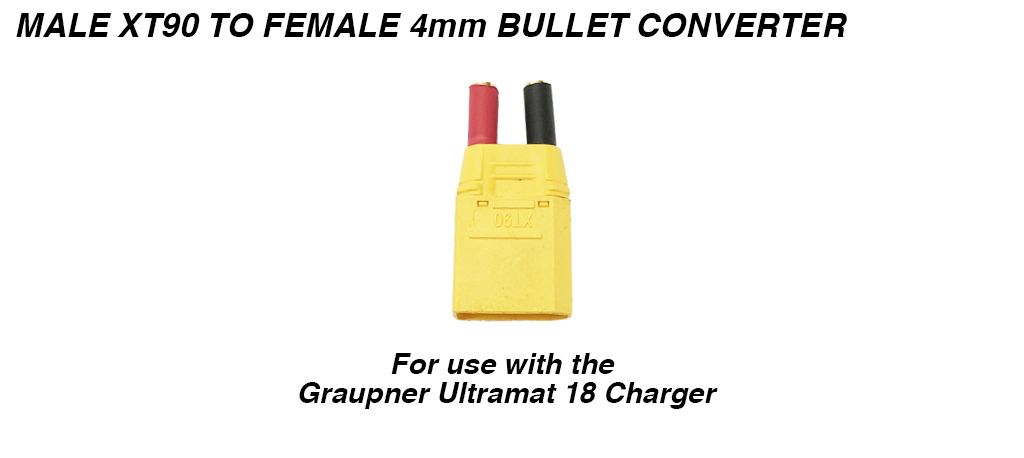 Graupner Charger XT90 to 4mm Bullet Conversion Plug for Charging