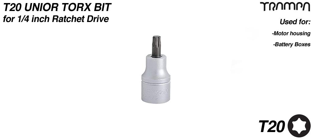 T20 Torx bit for 1/4 inch Ratchet Drive UNIOR
