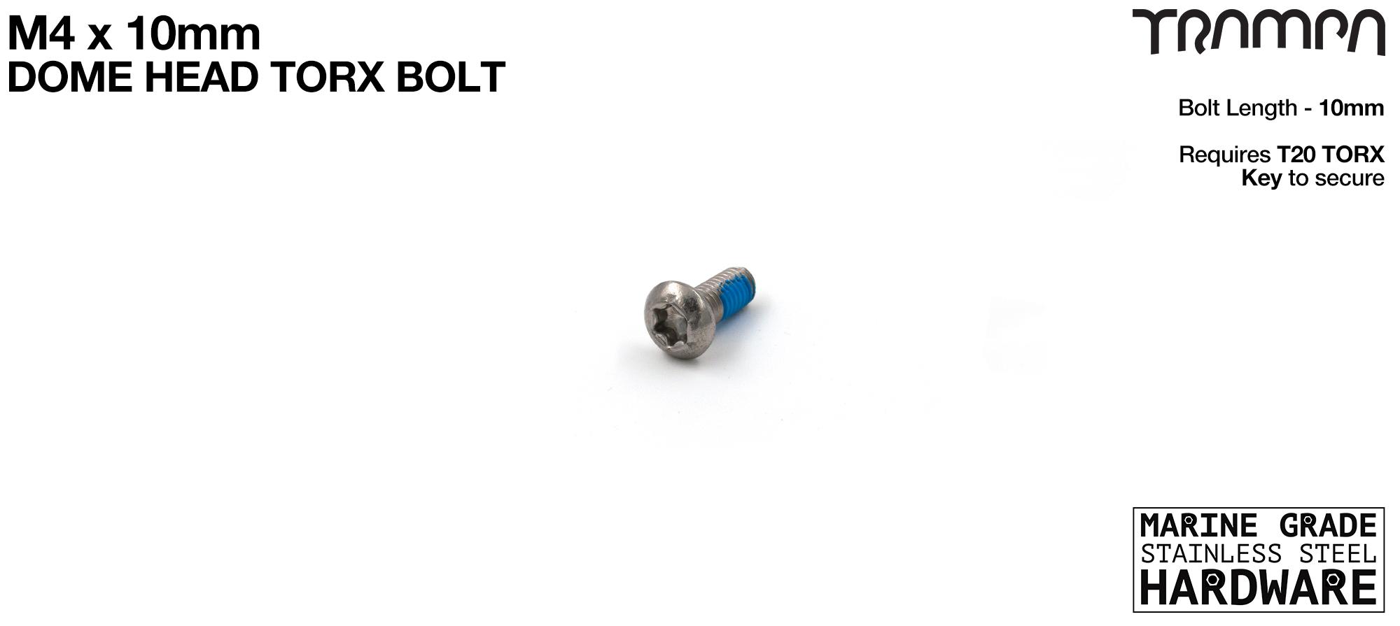 M4 x 10mm TORX Dome/Button Headed Head Bolt DIN6912 Marine Grade Stainless Steel TORX
