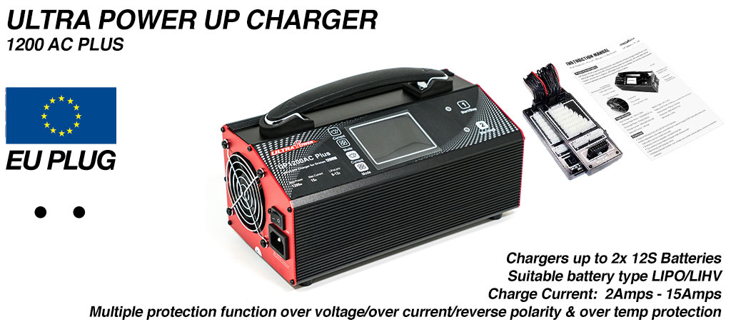 ULTRA POWER Charger 2x 600W, 15A, 12s Charger - UP1200AC PLUS - COMES Supplied with EURO wall PLUG