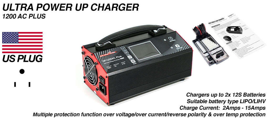 ULTRA POWER Charger Suitable for use in the USA 2x 600W, 15A, 12s Charger - UP1200AC PLUS - COMES Supplied with USA wall PLUG