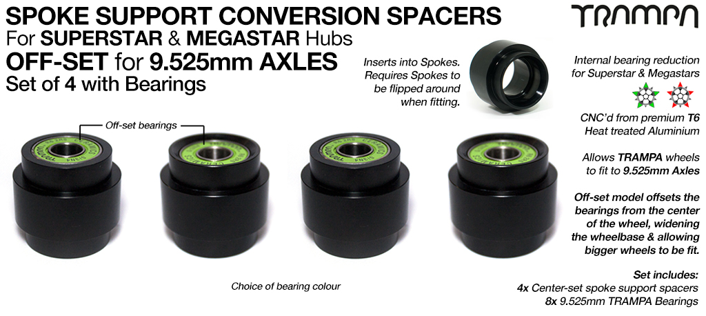CENTRE Set Spoke Support Bearing Conversion Spacers with Bearings Kit - Fits SUPERSTAR & MEGASTAR Wheels to 9.525mm Axles such as Evolve, Enertion, Boosted & Pretty much any 9.525mm Longboard truck on the planet!!