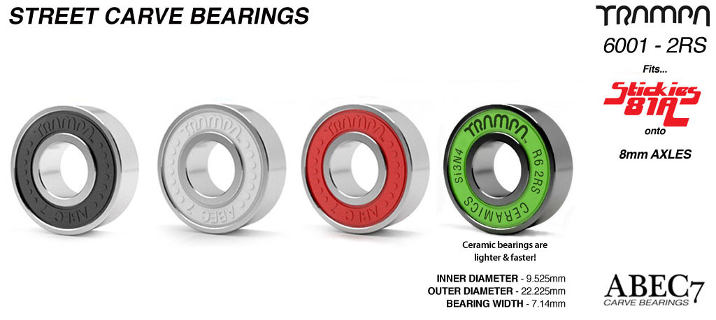 R6-2RS TRAMPA Mini Spring Truck Street Carve & 12FIFTIES Bearings used to fit STICKIES Longboard Wheels to 9.525mm Axels (9.525 x 22.225 x 7.14mm) - CUSTOM