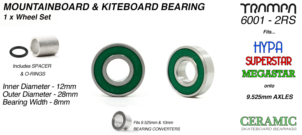TRAMPA CERAMIC 6001 2RS ATB Bearings with Reducer Sleeves for 9.525mm Axles - 12mm x 28mm axle GREEN Rubber Sealed Sidewalls x1 wheel