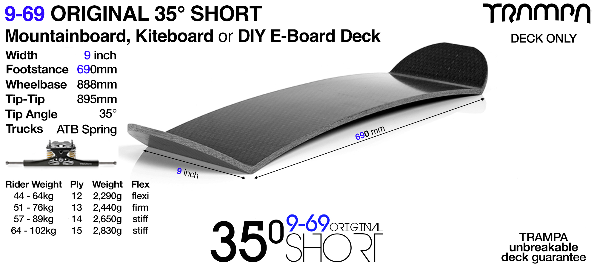35° SHORT Original 9-69 TRAMPA Mountainboard or Kiteboard Deck