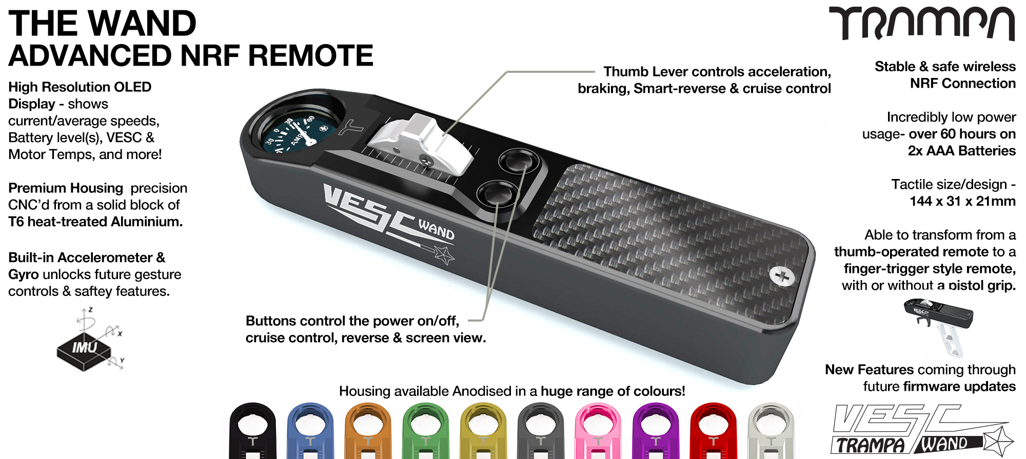 TRAMPA WAND Remote Control - VESC Based remote gives all the control you could ever wish for