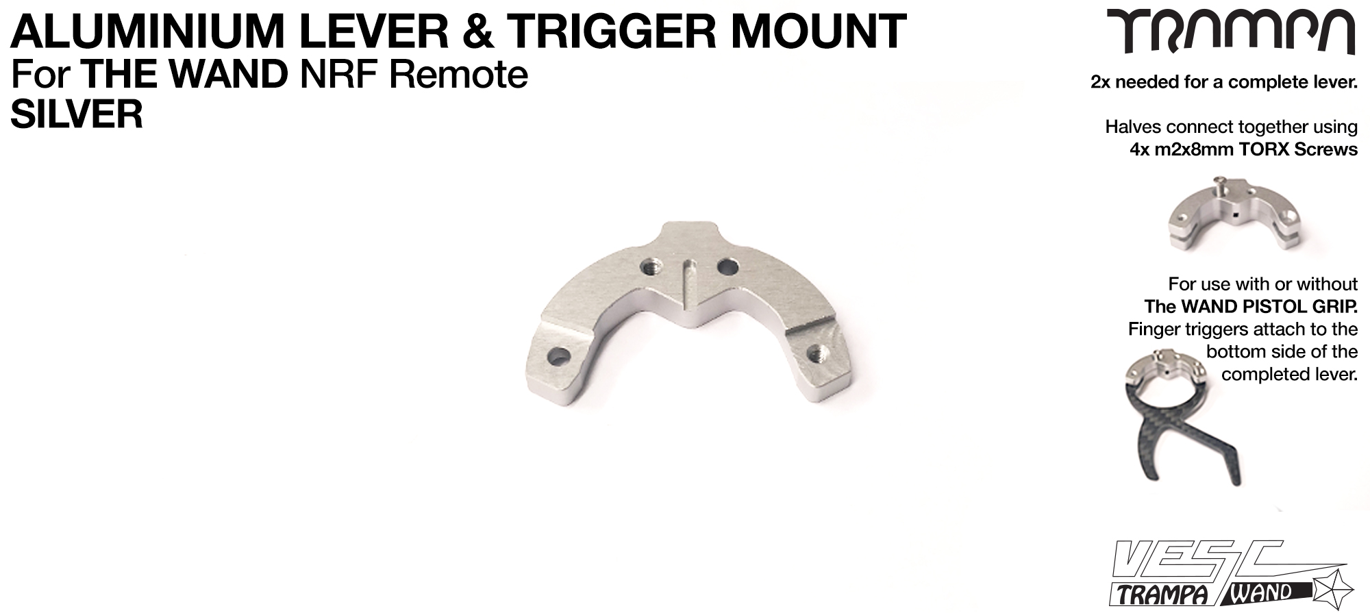 WAND - Aluminium Lever - For Mounting Finger Triggers - SILVER
