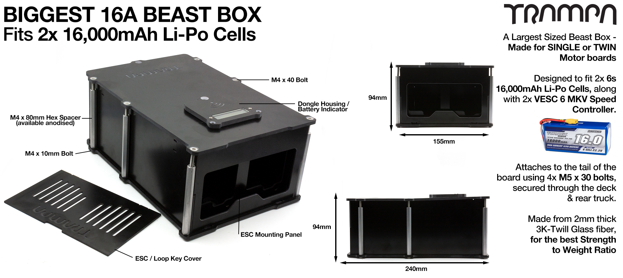 16A BIGGEST BEAST Box to fit 2x 6s 16000 mAh cells with Internal VESC Housing - TWIN Motor