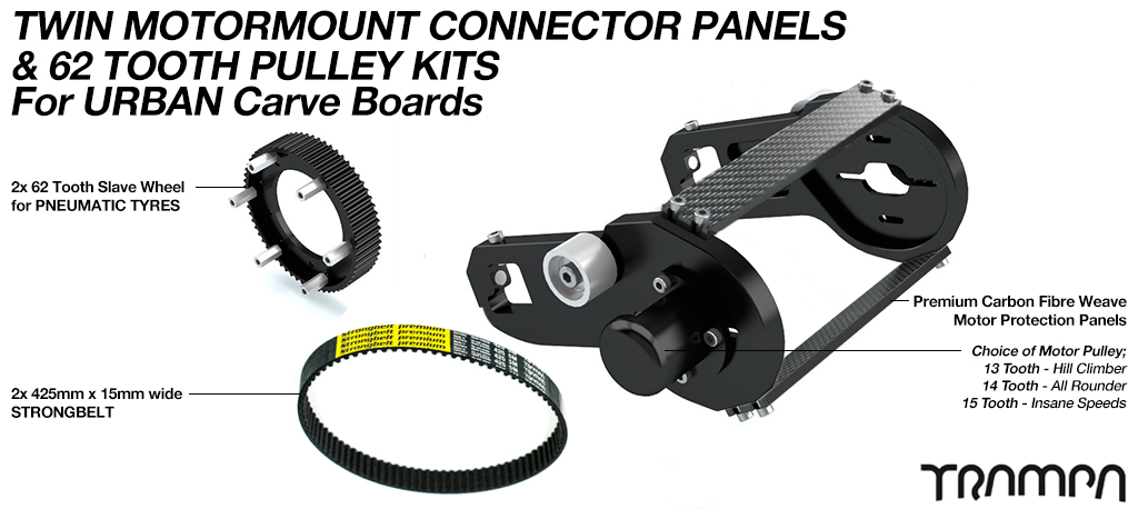 MkII URBAN CARVEBOARD Motormount Connector Panel & 62 Tooth Pulleys - TWIN