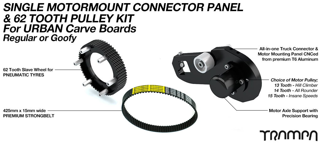 MkII URBAN CARVEBOARD Motormount Connector Panel & 62 Tooth Pulley Kit - SINGLE