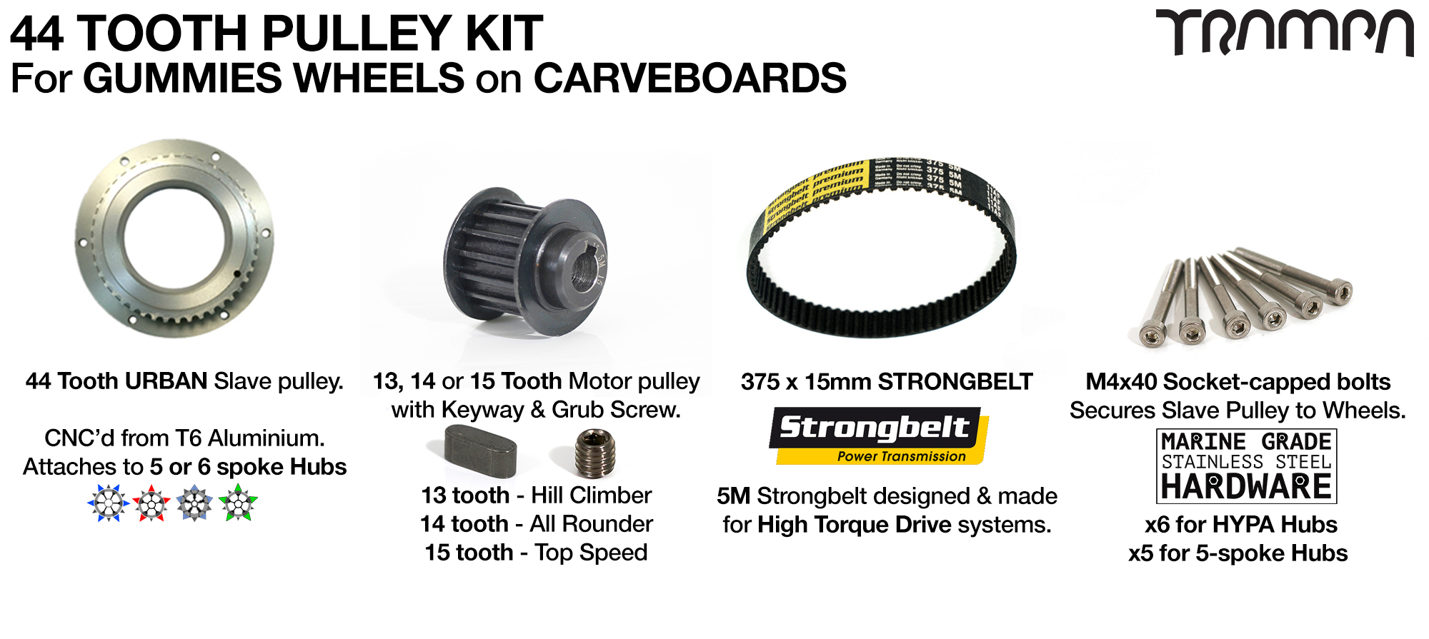 MKII GUMMY Carve Pulley Kit with 44 Tooth Slave & 375mm x 15mm Belt for 5 Inch GUMMY tyres
