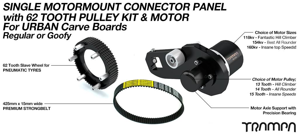 MkII URBAN CARVEBOARD Motormount Connector, 62 tooth Pulleys & 160Kv Motor - SINGLE