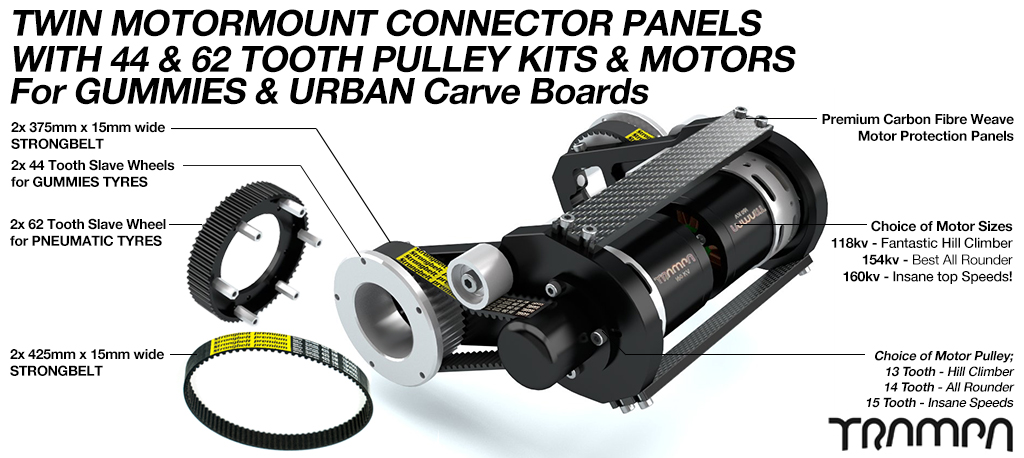 2in1 CARVEBOARD Motormount with GUMMY 44 tooth & URBAN 62 tooth Pulleys & 6364 160Kv Motor - TWIN