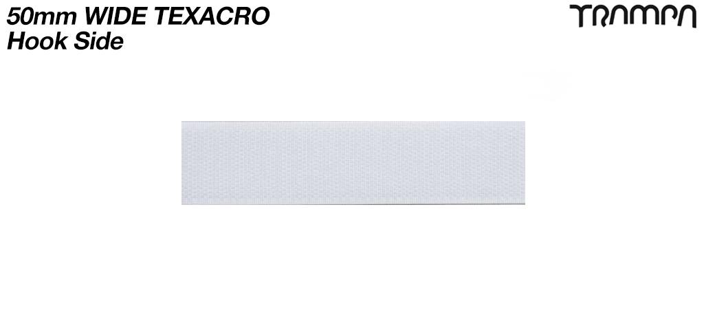10cm's of 50mm wide White Texacro (hook & loop tape) - HOOK only