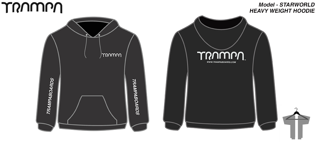 STARWORLD's Ultimate HEAVBY DUTY Black HOODIE with Silver Logo's