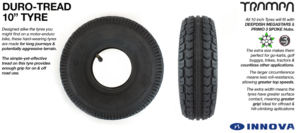 10 Inch Tractor Tread Tyre - Suitable for heavy weight Golf Buggies, Karts, Trikes, Tractors etc....